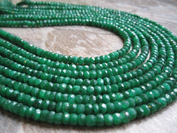 Emerald Faceted Rondelles Full 15 inch Strand