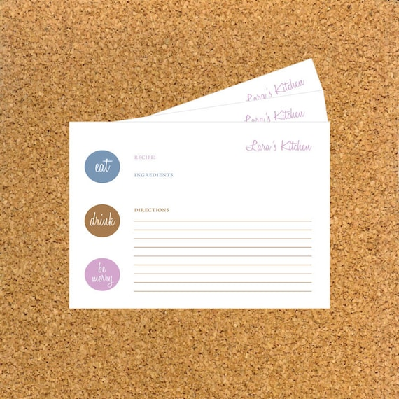 Personalized Recipe Cards / Recipe Cards - Eat, Drink and Be Merry