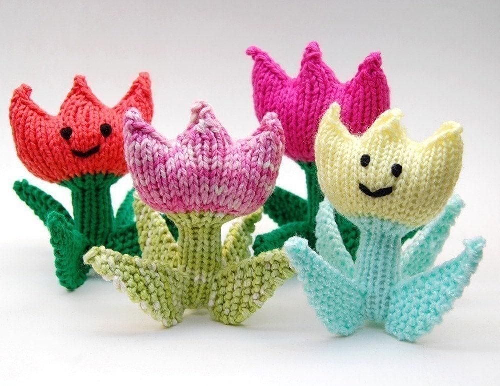 Knit Amigurumi Patterns : Spring Tulip Flower Knit Amigurumi Plush Toy Soft Sculpture