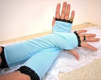 One Pair Only Afternoon Delight Summer Blue with Black Lace Fingerless Gloves Arm Warmers Size Medium