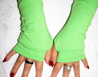 Lime Green Mori Girl Fingerless Gloves for the Forest Girl