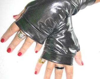 Shinning Gun  Black Lightweight Fingerless Gloves Arm Warmers