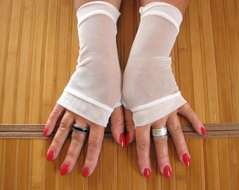 One Pair Only Size Medium Simplicity at its Best always a Classic Sheer White Mesh Lace Fingerless Gloves Arm Warmers