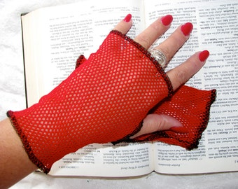 Queen of Hearts Sheer Red Mesh Net Lace  Fingerless Gloves
