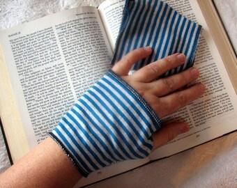 Shorty Short Length Alice In Wonderland Blue Fingerless Gloves Arm Warmers