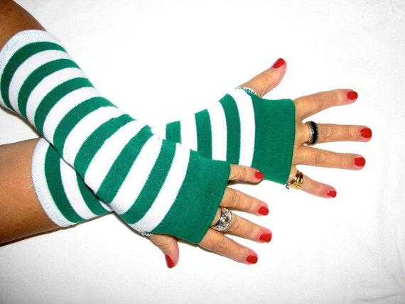 Wheres Waldo Green Striped Fingerless Gloves Arm Warmers Vampire Goth Pippy Longstockings
