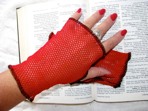 Queen of Hearts Sheer Red Mesh Net Lace  Fingerless Gloves Size Small Medium Large or XLarge