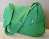 Messenger bag XL,Shoulder bag Travel bag, weekend bag Green Canvas with Cream lining ,adjustable strap...LOFT..