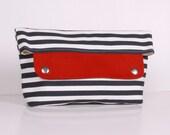 ZEN ... clutch , pouch ,White Dark blue canvas with cream lining