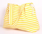SUMMER TOTE... Shoulder Bag ,Everyday Purse,Canvas Yellow and White