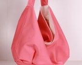 Hobo Bag , Shoulder bag Everyday bag Pink with cream lining