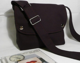 MINI CITY..  Men Messenger / Dark Gray Canvas / Claret Red Lining / Adjustable strap / Women Messenger / Travel Bag