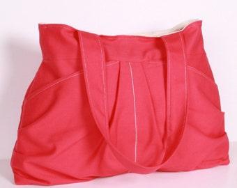 Everyday bag , Shoulder Bag ,Diaper bag Tote Pink ,White lining ,10 Pockets