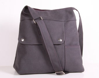 Shoulder Bag ...Everyday Bag ,Gray Canvas with Purple lining,Adjustable Strap
