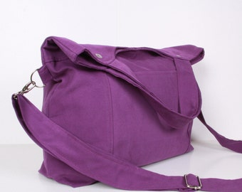 Canvas Messenger Bag, Tote Bag,  Purple canvas with Purple lining ,adjustable strap ...STREET