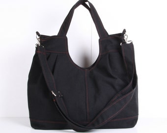 Messenger Bag, Shoulder Bag,Tote Bag, Black canvas with Burgundy lining ,adjustable strap