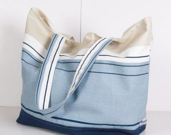 Beach, Large SUMMER TOTE... Shoulder Bag ,Everyday Purse,Canvas Blue ,Dark blue, Beige,White