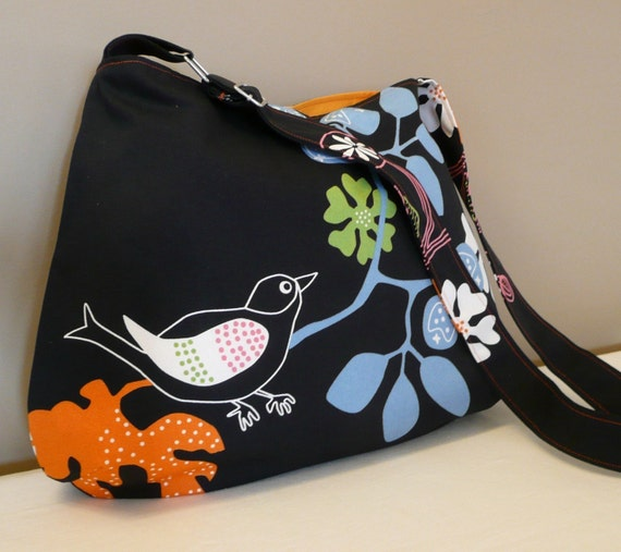 Every day bag , adjustable strap,canvas,black,bird on branch