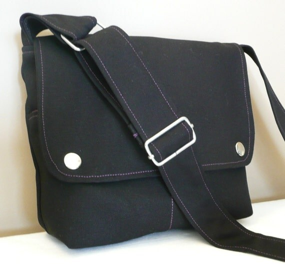 Messenger bag, Shoulder bag, cross-body, Black canvas with Purple lining ,adjustable strap...MINI CITY...