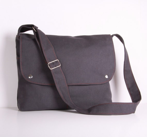Grey Messenger Bag, Men Canvas Messenger Bag, Laptop Bag Grey canvas with Red lining...CITY