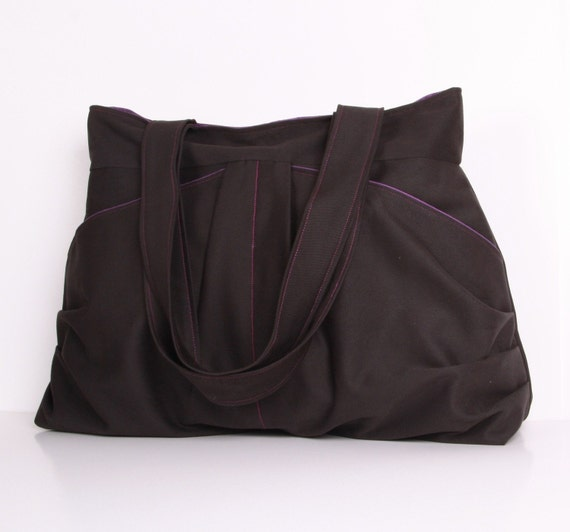 Everyday bag,Dark Gray ,Fume, Pleated Bag, cotton with Purple lining Everyday bag , Shoulder Bag ,