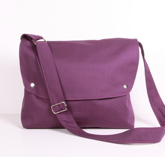 Messenger Bag School bag Travel bag , Purple ,adjustable strap .