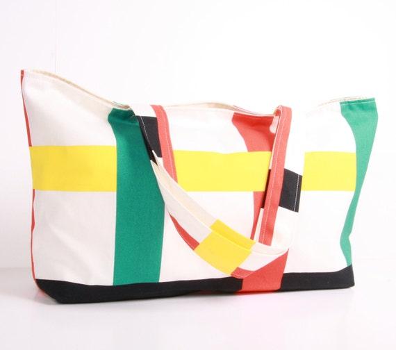TOTE... Beach bag, Summer bag, Shoulder Bag ,Everyday Purse,White,red,green,Black canvas