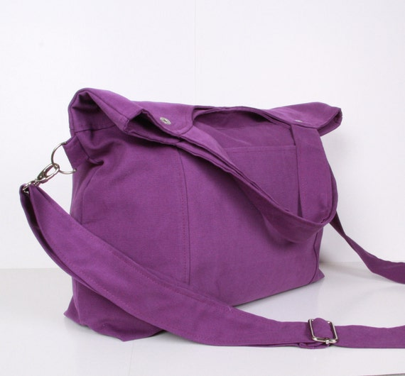 Canvas Messenger Bag, Tote Bag,  Purple canvas with Purple lining ,adjustable strap ...STREET