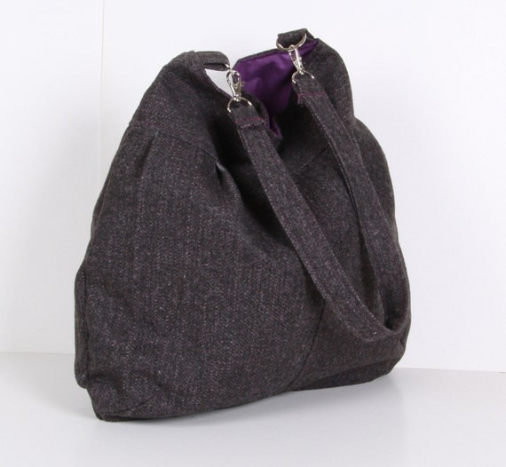 HOBO Bag ,Shoulder bag, Wool with purple lining