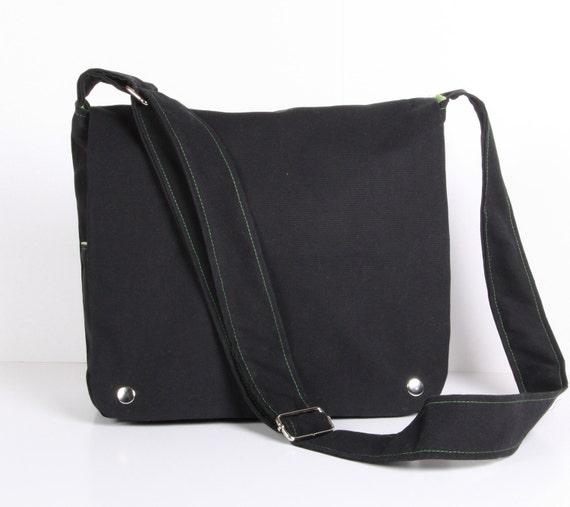 Messenger Bag ,sholder bag, square messenger bag, Dark Gray Canvas Green lining ,adjustable strap...SQUARE... ..