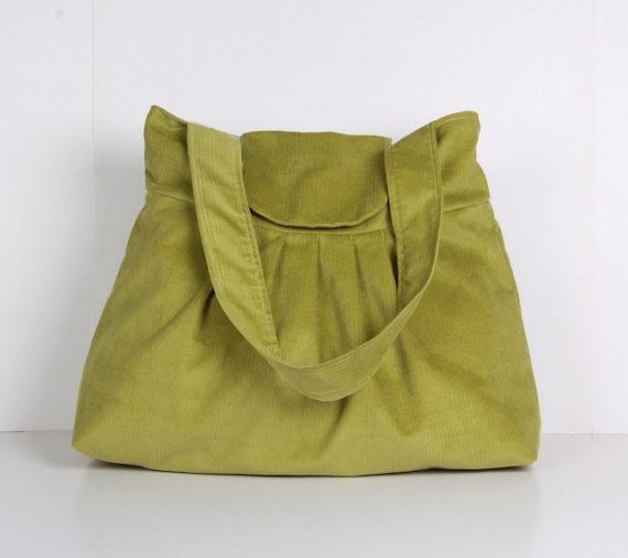 Green Pleated Bag, Mother's day,  Shoulder Bag ,Everyday Purse ,Tote Bag, Green corduroy ...MIST