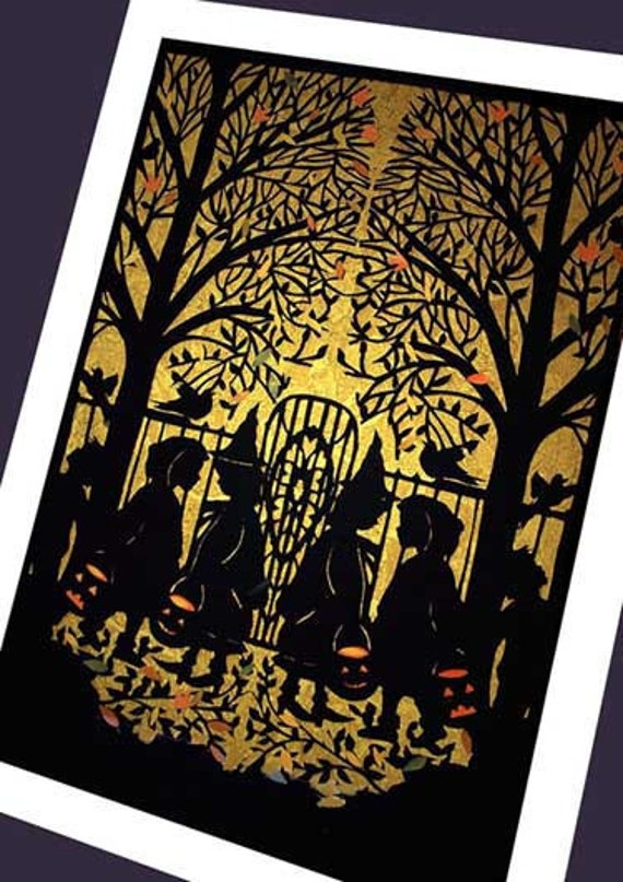 Halloween  Card -silhouette of witches    ( Trick or Treat)