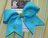 Aqua with Lime Dots  ... NO SLIP Classic Tylie Bow