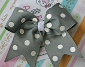 Grey with White Polkadots ... Classic Tylie Bow on a no slip clippie
