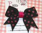 Black with Hot Pink Polkadots Mini Tylie Bow on a NO SLIP velvet lined clip
