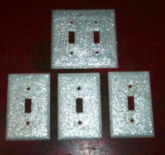 Lucite Glitter Light Switch Plates Vintage