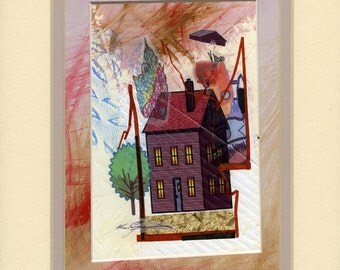 Mixed media collage, Red house
