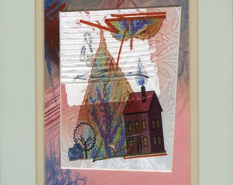 Mixed media collage, Leaf and house