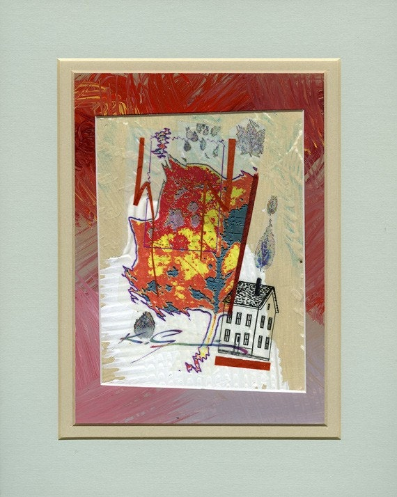 Mixed media collage, Red leaf