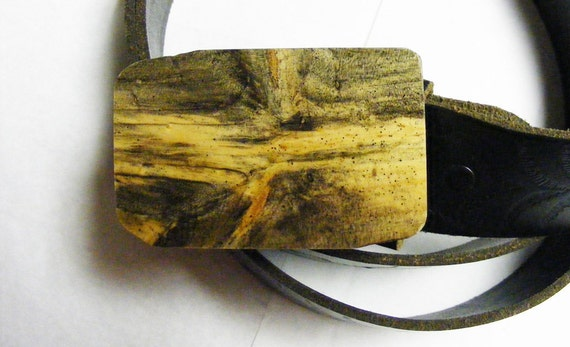 Naturally stained Pine Belt Buckle From Dead Wood - Fault Line