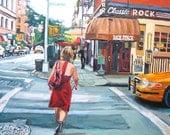 New York Art Red Dress On Bleecker Street, Wall Fine Art Print 8x10, figure The Back Fence Painting by Gwen Meyerson