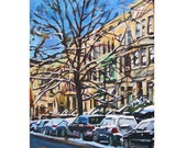 Brooklyn Fine Art Print 8x10, Winter Park Slope, blue brown mustard Painting by Gwen Meyerson