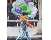 Little Girl Painting, Balloons, Summer Art 8x10, Girl With Balloons New York City blue purple  green Figurative Painting by Gwen Meyerson
