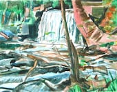 Nature Painting Waterfall Landscape Fine Art Print 8x10, Watercolor Painting Print  by Gwen Meyerson
