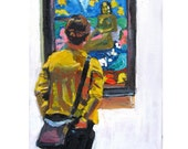 Girl Studying Paul Gauguin At MOMA Visiting Museum Fine Art Print  8x10, New York City Figurative Painting by Gwen Meyerson