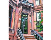 Brooklyn Brownstone Entrance, Fine Art Print Architecture architectural Painting Gwen Meyerson