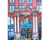 Sale. NYC Art Wall Decor Puck Building  Midsummer Nights Dream Art Print  8x10 New York Cityscaper red white blue Painting by Gwen Meyerson