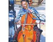 Black Musician Street musician Cellist Fine Art Print 8x10 African American Musician Music Painting by Gwen Meyerson