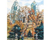 Philadelphia Art Painting Rittenhouse Square, Art Giclee Print Cityscape painting Gwen Meyerson