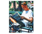"Reader Art Fine Art Print 8x10, ""Man In Park Reading"" park bench  Painting by Gwen Meyerson"